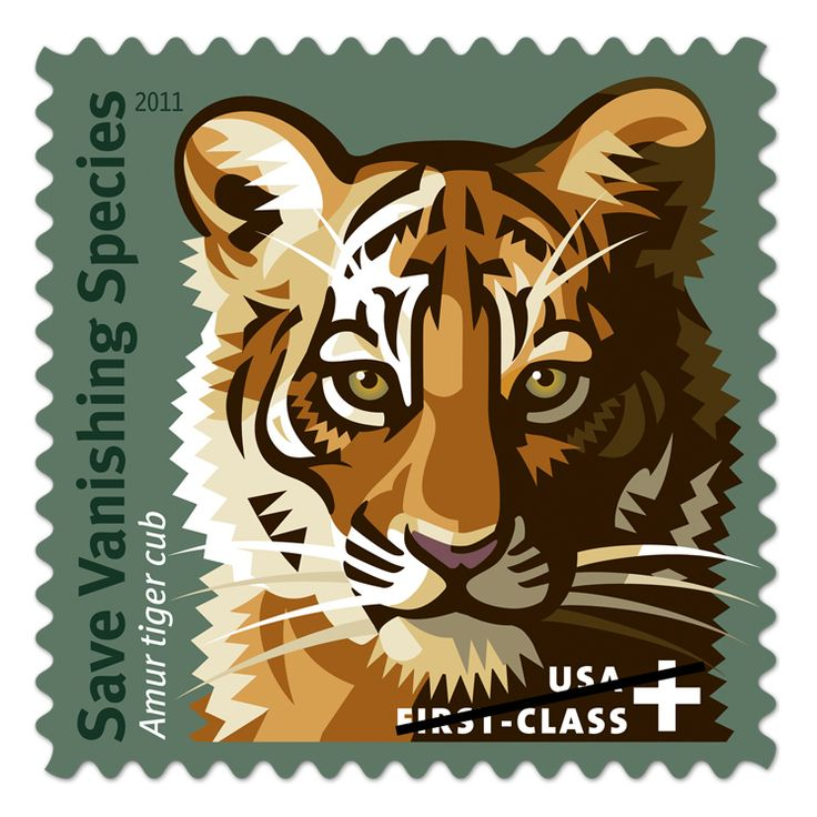 Save Vanishing Species     Save Vanishing Species Featuring a bold graphic of an Amur tiger cub, the artwork of the Save Vanishing Species™ First-Class Semipostal stamp depicts just one of the magnificent animals that it is designed to help. Your purchase benefits conservation funds that are helping create hope for the future. As of October 2012, over $1.74 million has been raised for the cause.