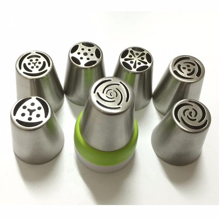 7 PCS Stainless Steel Rusia Tulip Nozzle + 1 Adaptor Converter Pastry dekorasi Icing Piping Tips Kue Cupcake monokweepjy