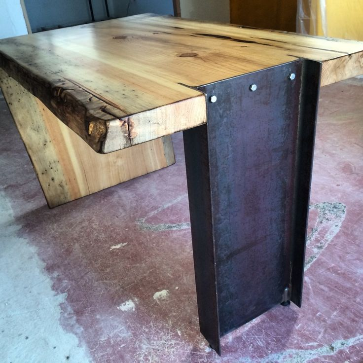 I like that I-Beam solution! How about two I-Beam legs on a live edge end table? Possibilities!  |  I-Beam Live Edge Slab Desk | Porter Barn Wood