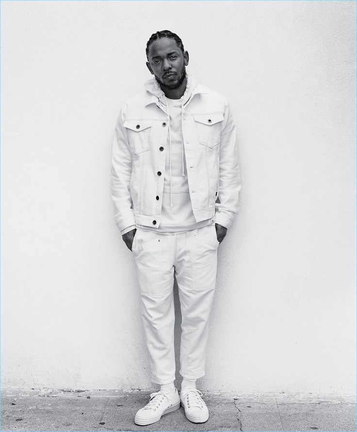 White Out: Kendrick Lamar wears a Calvin Klein Jeans jacket, AG hoodie, Joseph pants, Falke socks, and Novesta sneakers.