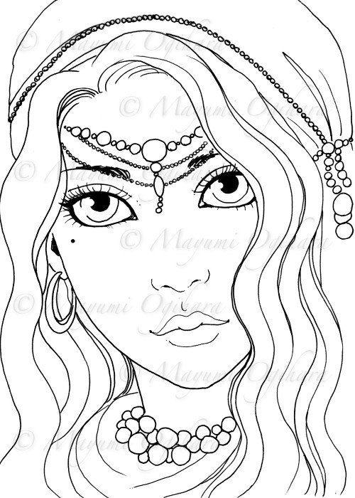 Gypsy Girl digital stamp colouring page by MayumiOgihara