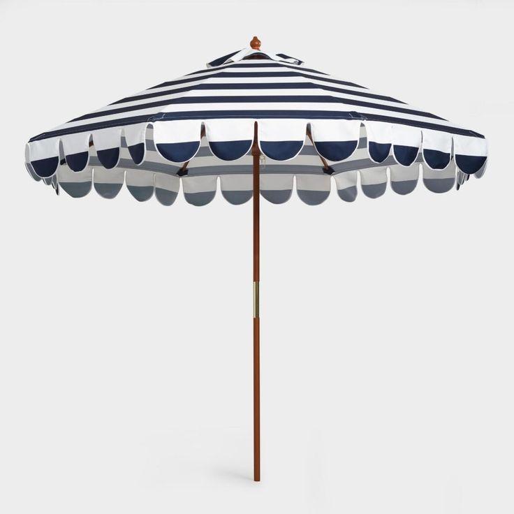 Striped Scalloped Umbrella