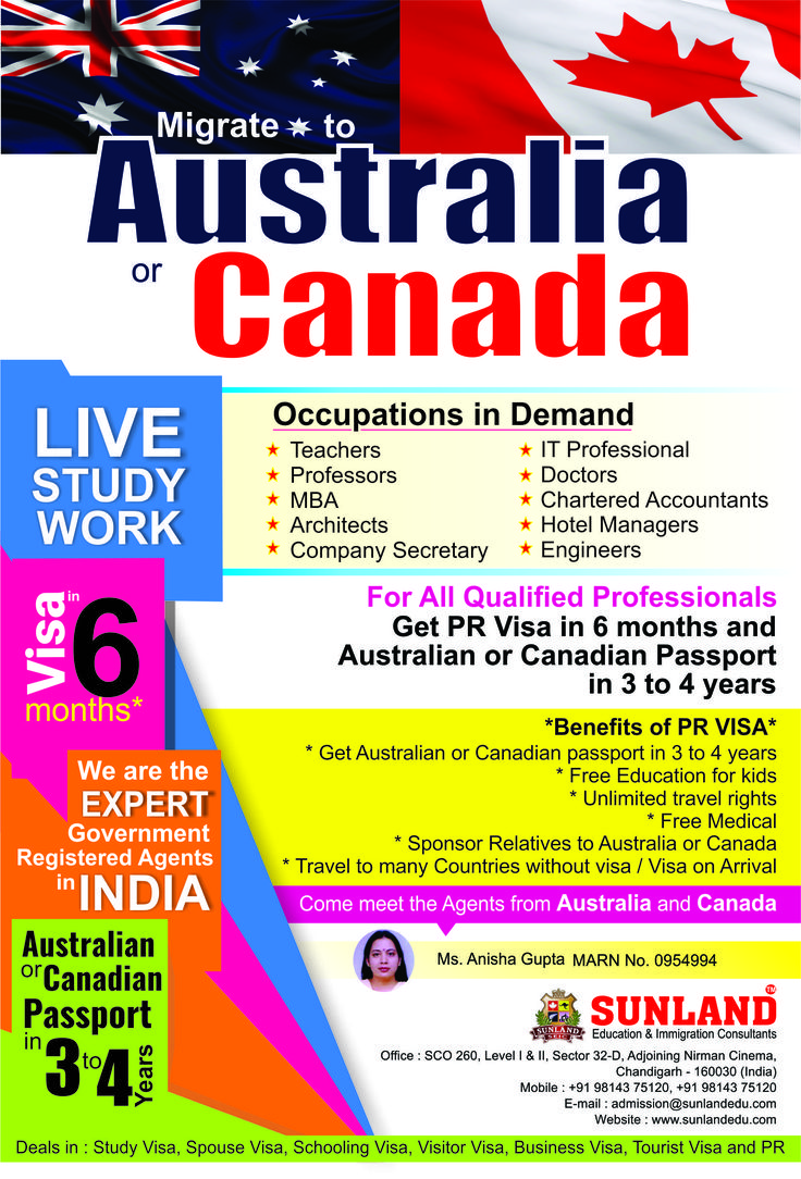 Want to #Migrate #Australia or #Canada? Then Visit us at #Sunland #Education and #Immigration #consultants, the best #Visa #Consultants in #Chandigarh.  Here #Ms. #Anisha #Gupta, #Mara #agent in #India and the best #Licensed #adviser for #NZ. She will give best advice regarding Australia and Canada Visa. For more information contact us at:- SCO - 260, Sector 32-D, Chandigarh http://sunlandedu.com 9814610782