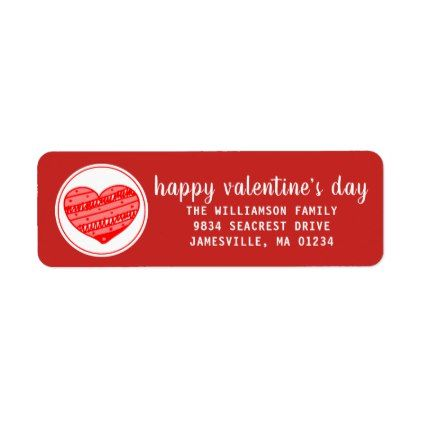 Red and White Valentine Return Address Labels - valentines day gifts gift idea diy customize special couple love