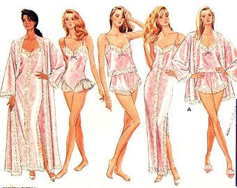 Womens Lingerie Pattern Butterick 6985 Plus Size 16 18 20 22 Robe Nightgown Camisole Teddy Panties UNCUT