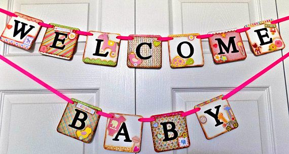 Welcome Baby Banner-Baby Shower Banner-Baby Girl Shower-Baby