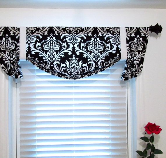 Custom Made Tie Up Curtain Valance Black And White Damask Window Treatment