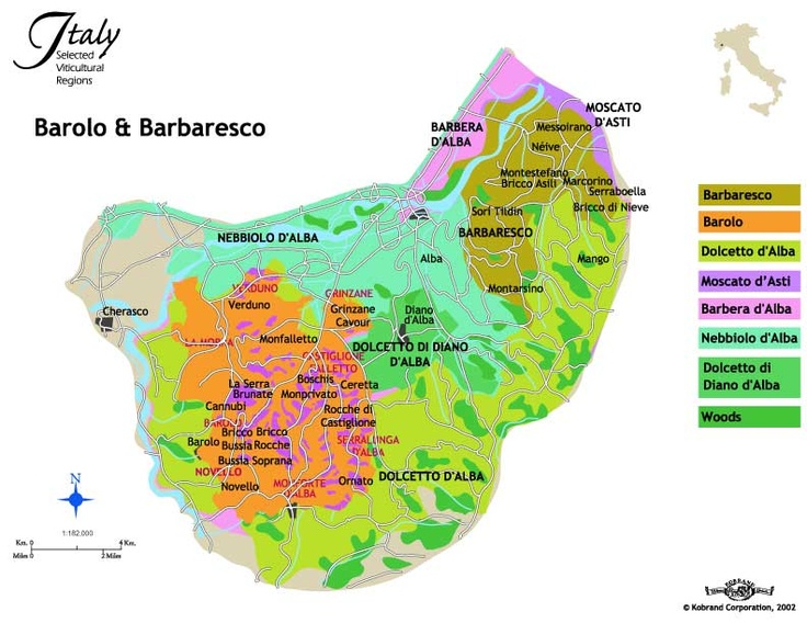 This is a great map of Piedmont highlighting Barolo and Barbaresco. Thanks to our friends at www.kobrandwineandspirits.com