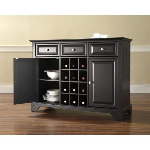 LaFayette Buffet Server / Sideboard Cabinet With Wine Storage In Black Finish…