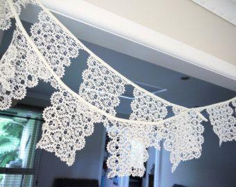 Crochet Bunting Garland Handmade Vintage by DaisiesBlueShop