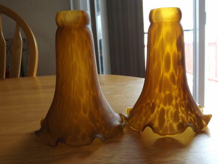 Meyda Tiffany Glass Lily Tulip Lamp Shade Amber Pair Lamp Shades Tulip And Amber