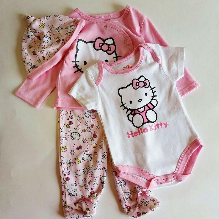 #fzonestyle  Ref. Vestido Hello Kitty Rosa Claro. Edad: 3-6 meses. Prendas: Camiseta, pantalòn, gorro y body. Valor: $70,000 (COP)