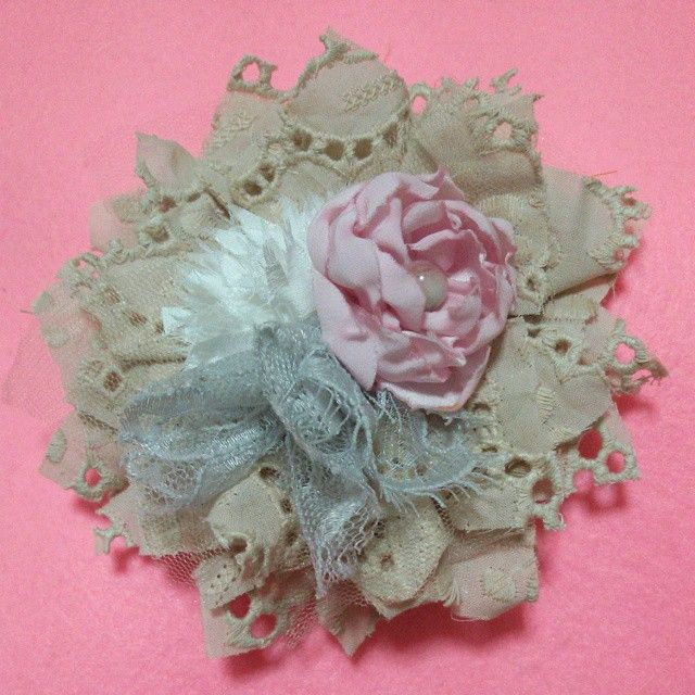 Project #wip #accessory #fabricflower #sewing #lace #shabbychic Fabric flower, shabby chic