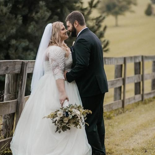 This awesome day was already 6 months ago! I can't believe it's been such a measurable amount of time already! #timeflies #6months #wedding #newlyweds #newlywed #newlywedsthefirstyear #weddinggown #tux #bride #groom #florals #farm #farmwedding #fences #blossomandbasketboutique #bakerture #bakerturebrides #bakerturephotography #weddingphotography #minianniversary #love #davidsbridal #ballgown #sixmonthsagosaturday #weddingday  photo credit: @bakerture | Shared via davidsbridal.com