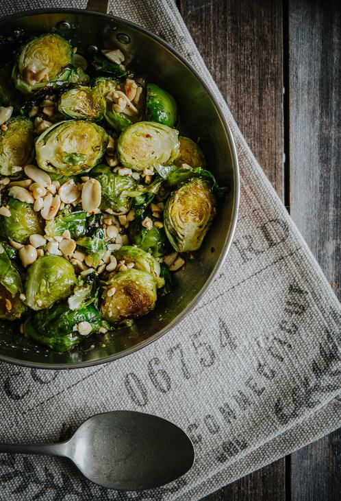 Roasted brussels sprouts with honey and peanuts.