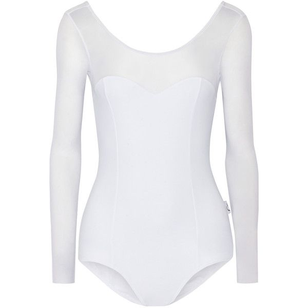 Ballet Beautiful Mesh-paneled stretch leotard ($115) ❤ liked on Polyvore featuring activewear, ballet, romper, shirts, white, lightweight shirt, sweetheart shirt, ballet shirt, sweetheart neckline shirt and mesh shirt