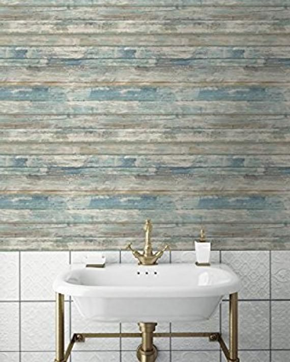 Blue Distressed Barnwood Plank Wood Peel And Stick Wallpaper Etsy In 2021 Faux Wood Wall Distressed Wood Wall How To Distress Wood