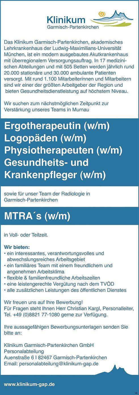 Ergotherapeuten w/m Logopäden w/m Physiotherapeuten w/m Gesundheits- und Krankenpfleger w/m sowie MTRAs w/m für die Radiologie