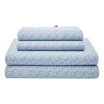 Tommy Hilfiger Garden Ditzy 180 Thread Count Sheet Set Color: Blue, Size: Twin XL