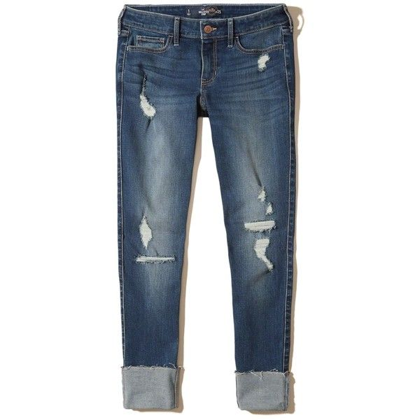 Hollister Low-Rise Crop Super Skinny Jeans ($60) ❤ liked on Polyvore featuring jeans, destroyed dark wash, low rise skinny jeans, ripped jeans, faded skinny jeans, destructed skinny jeans and tall skinny jeans