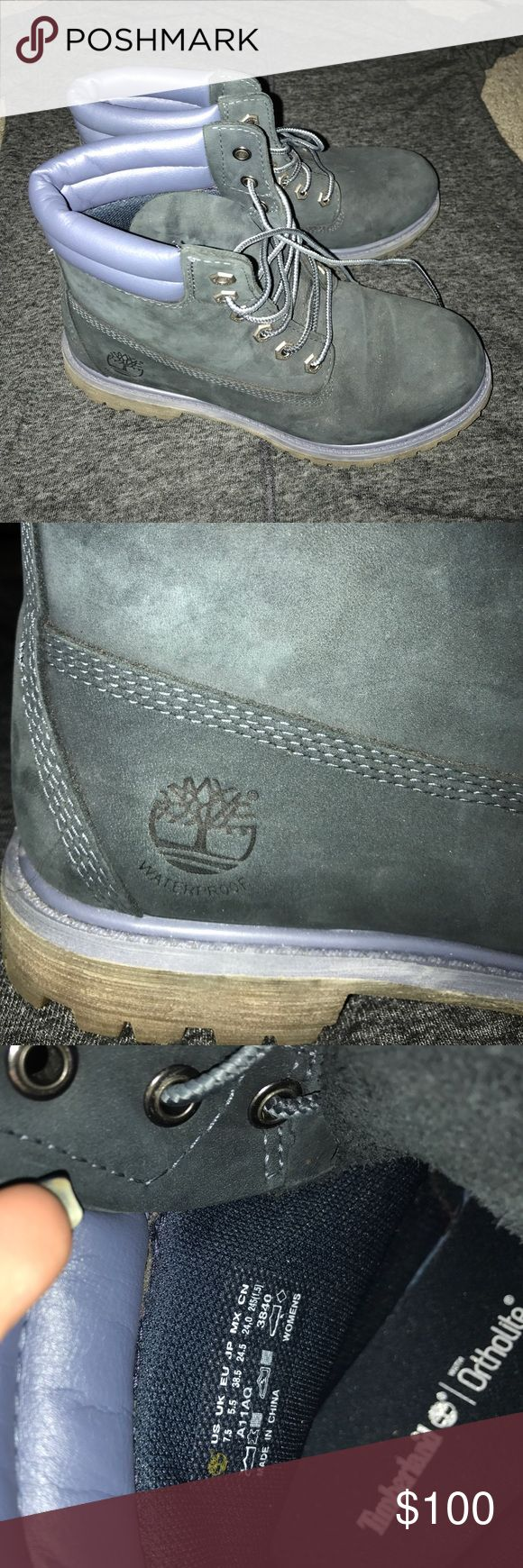 New navy blue timberland boots Brand new! Worn once! Navy blue timberland boots size 7.5 Timberland Shoes Combat & Moto Boots