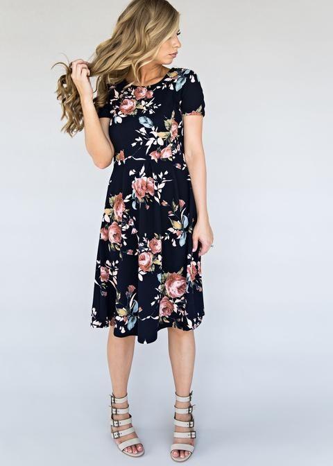 Navy Enchanted Floral Midi Dress, floral, floral print, black floral, hair, makeup, style, fashion, womens fashion, blonde hair, floral dress