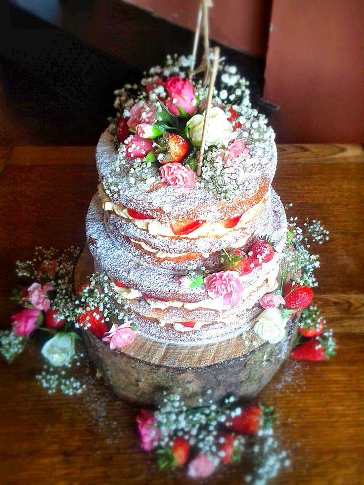 2 Tier Naked Wedding cake, delivering to wedding venues in Kent, Sussex, Surrey, London, Somerset, Devon, Dorset
