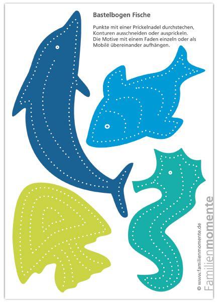 Bastelbogen für Deko-Mobile Fische zum Prickeln