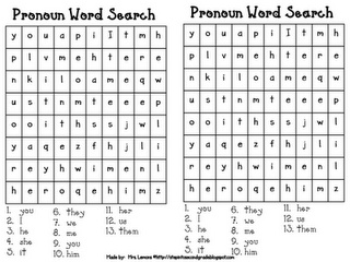 Pronoun Word Search. Pinned by Generation iKid.
