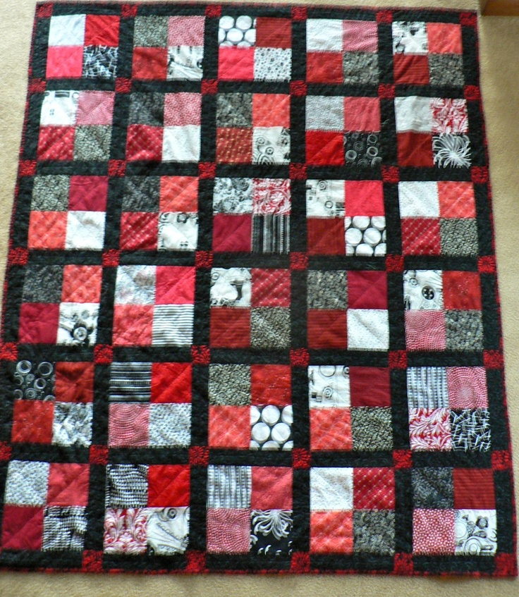 """Creative Expressions: Red & Black Quilt. 5"""" for 4 patches, sashing 2 1/2"""" wide"""