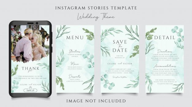 Instagram Stories Template For Wedding Invitation Theme With Beautiful Floral Wedding Invitation Theme Instagram Story Template Wedding Invitations