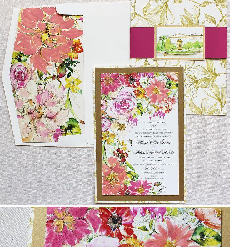 Big Bold Wedding Invitations In Watercolor. #watercolorwedding  #momentaldesigns #kristyrice #handpainted #