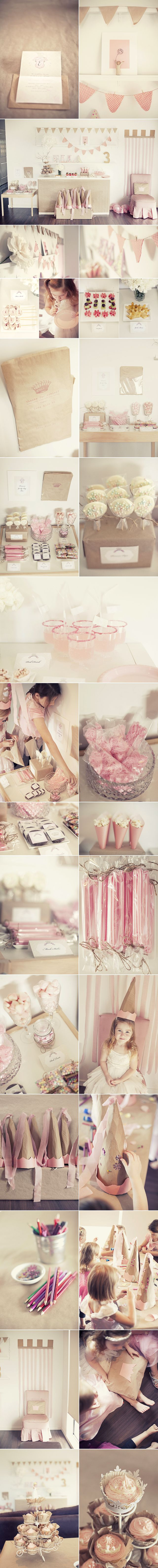 soft pink + kraft princess party...so many simple but lovely details