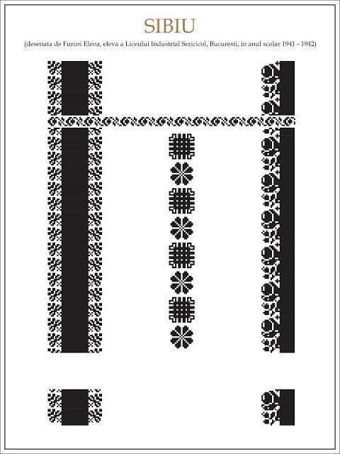 Semne Cusute: ie din SIBIU Modele de ii Romanesti din caietul elevei Furcoi Elena, de la Liceul Industrial Sericicol Bucuresti, care a desenat aceste planse in clasa a VIII-a, anul scolar 1941 - 1942