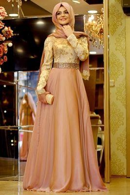 Pınar Şems Pudra Kabarık Büyülü Tesettür Abiye Elbise