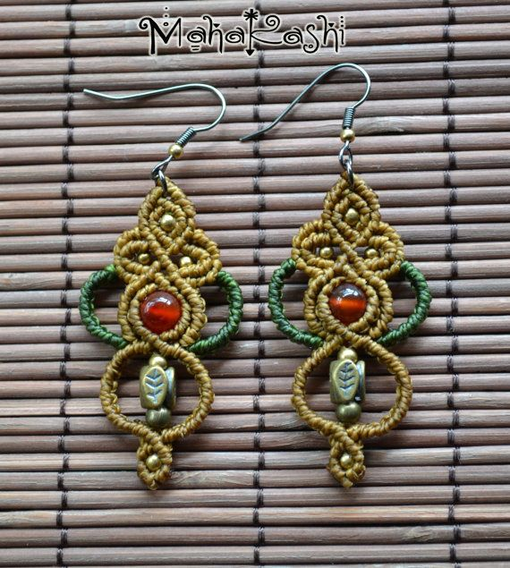 Primitive Tribal earrings with Agate and brass beads