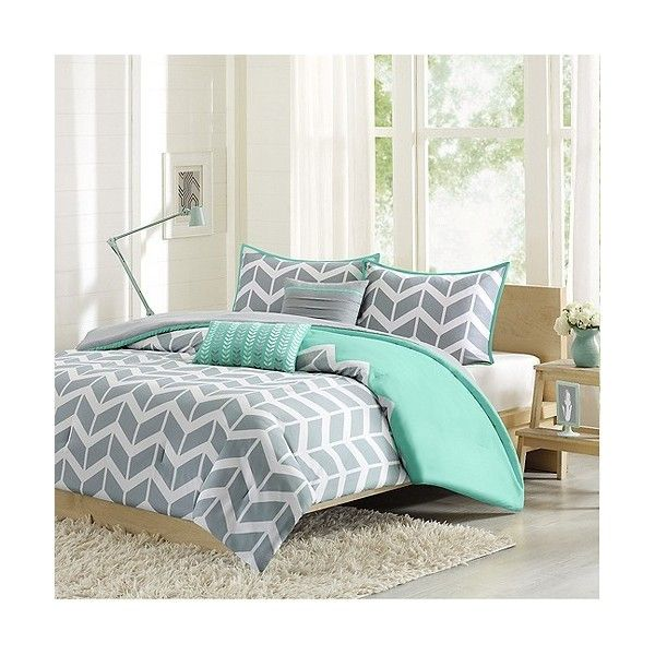 Darcy 5 Piece Comforter Set - Teal ($76) ❤ liked on Polyvore featuring home, bed & bath, bedding, comforters, blue, blue comforter, chevron comforter set, blue stripe comforter, teal blue comforter and blue comforter sets