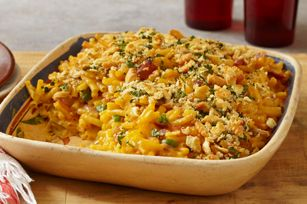 Jalapeño Macaroni & Ham Bake recipe,  photo by:  kraft  Mac and cheese is the ultimate crowd-pleaser. This version will have the crowd on its feet and cheering. Turn up the heat with jalapeños and ham baked right in.