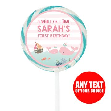 Whale Girl 1st PERSONALIZED Large Lollipops - 12 Pk Party Supplies Canada - Open A Party