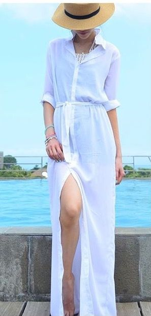 This white maxi shirt dress is so perfect for a beach holiday. It can be a dress or a beach cover up. So cute