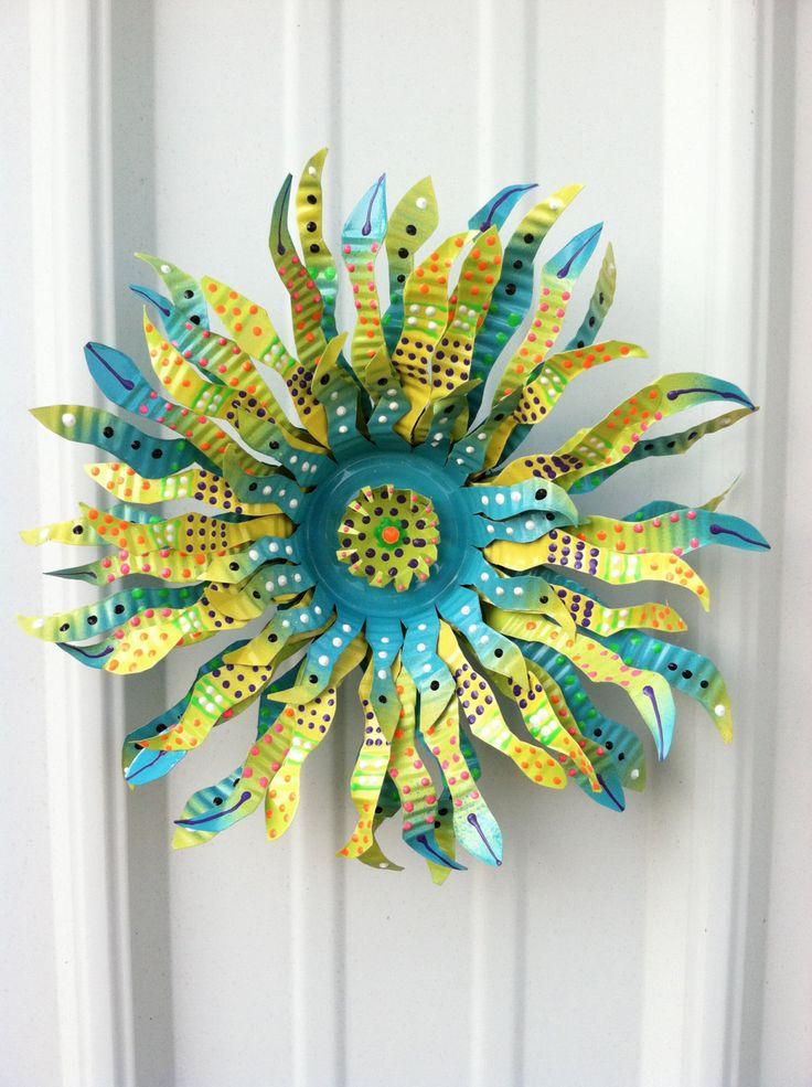 Funky Handmade Mini Magnetic Tin Can Flower Art by HangTinFlowers