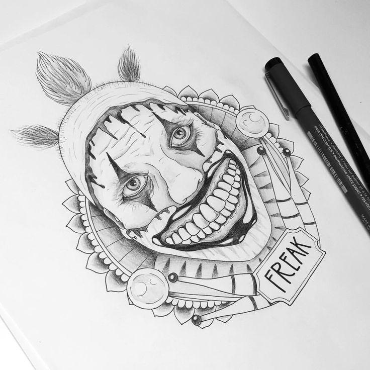 """Mi piace"": 230, commenti: 13 - Dora (@doratattoos) su Instagram: ""Twisty the clown from American Horror Story Freak Show  @darkartists #twistytheclown…"""