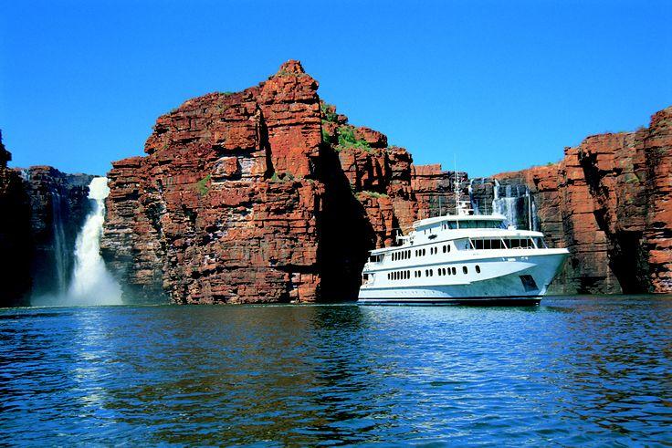 Cruising The Kimberley, TRUE NORTH moored at King George Falls, King George River the Kimberley. #luxurytravel #cruise #waterfalls #nature #adventure #northstarcruises