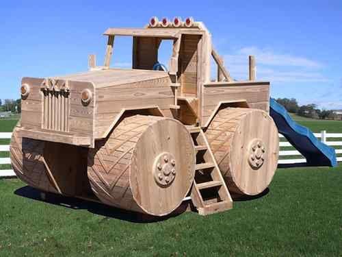 Amish PA Dutch Handmade Wooden Swingset Playground Equipment Monster Truck Slide   eBay