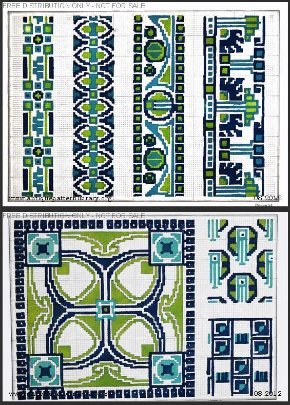 Art Nouveau cross-stitch borders and corners