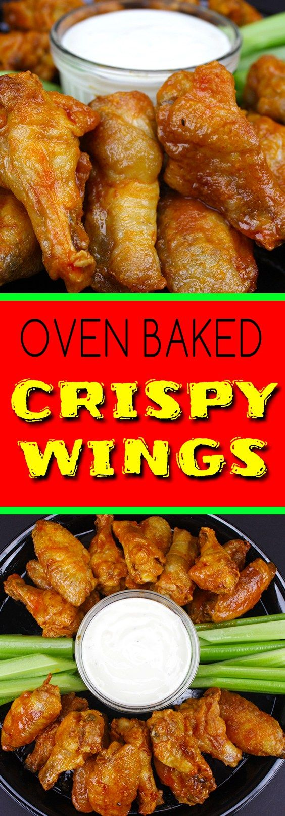 Crispy Oven Baked Chicken Wings - The trick to extra crispy oven baked wings! No more deep frying.