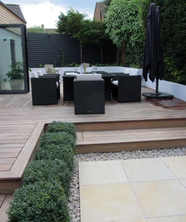 taking advantage of the gardens changes in ground levels steps lead from the upper dining deck to the lower patio paved in smooth sandstone - Garden Ideas On Two Levels