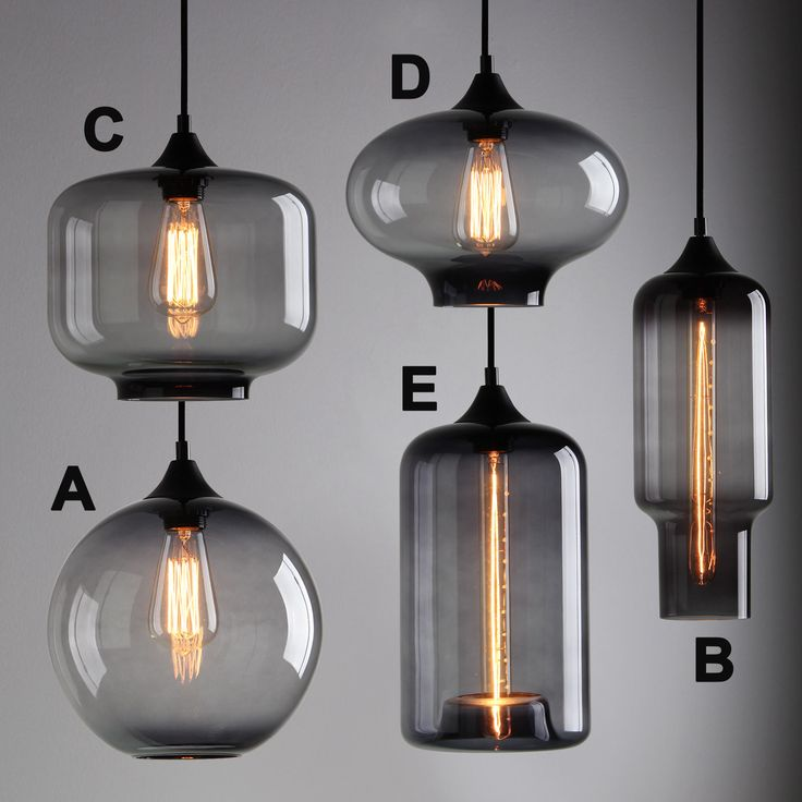 MODERN INDUSTRIAL SMOKY GREY GLASS SHADE LOFT CAFE PENDANT LIGHT CEILING LAMP | eBay