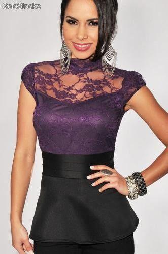 Elegante top blusa Peplo púrpura con encaje ropa moda para dama