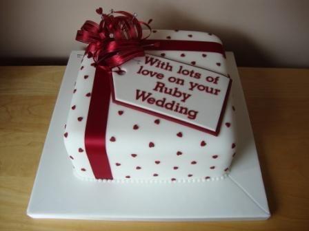 Cake Decorating Ideas For Ruby Wedding : Ruby Anniversary Cake.JPG (448x336) Baking Business ...